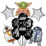 BATTER 17 pcs Star Wars balloon,Star Wars the Child Birthday Party Supplies Baby Yoda Balloon Bouquet Decorations