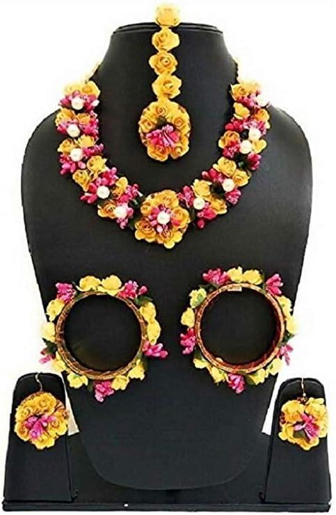 SANGRIA sarthak Fashion Jewellery Yellow Color Floral Gota Patti Mehandi Haldi Necklace, Earrings and Maang Tika for Women and Girls