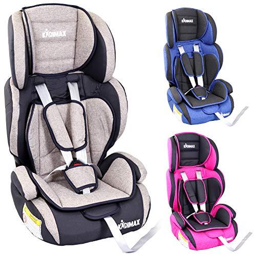 KIDIMAX® Autokindersitz Kindersitz Kinderautositz, Sitzschale, universal, zugelassen nach ECE R44/04, in 3, 9 kg - 36 kg 1-12 Jahre, Gruppe 1/2 / 3 (Grau)