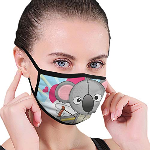 Comfortable Windproof mask,Cupid Koala Bear Toy with His Love Arrows Sitting On Clouds and Hearts Romance Theme,Fashion Facial Decorations for Unisex Masken