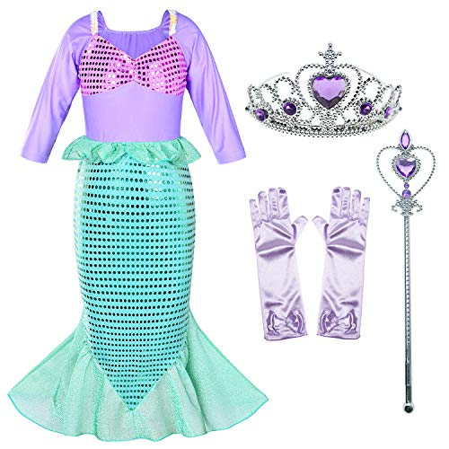 Little Mermaid Princess Costume Long Sleeve Sequin Party Dresses for Girls Dress UP 3-10 Years