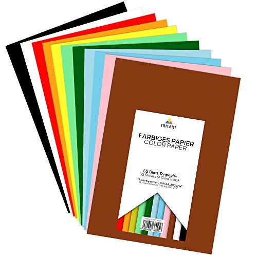 Tritart Buntpapier A4 300g I 55 Blatt festes Bastelpapier I stabiler Tonkarton zum Basteln I Fotokarton 11 Farben I DIY buntes Tonpapier I Bastelkarton