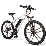 Bicicletas Eléctricas Plegables para Adultos, Motor Central Eléctrico 350W, 26 Pulgadas Bici Electrica con Pedales para Adulto Unisex, Batería Extraíble De 8Ah, 21 Velocidades,White