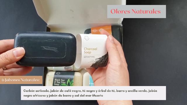 Lujoso Estuche con Selección 6 Mejores Jabones 100 % Vegano Natural con aceites esenciales Terapéuticos del Mar Muerto Cuidado Espinillas Repara e ...