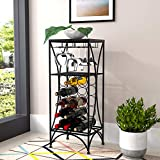 Mecor Metal Wine Rack,Free Standing Wine Storage Shelves for 15 Bottle,Wine Display with 3 Stem Glass Holder,Wood Top,Black