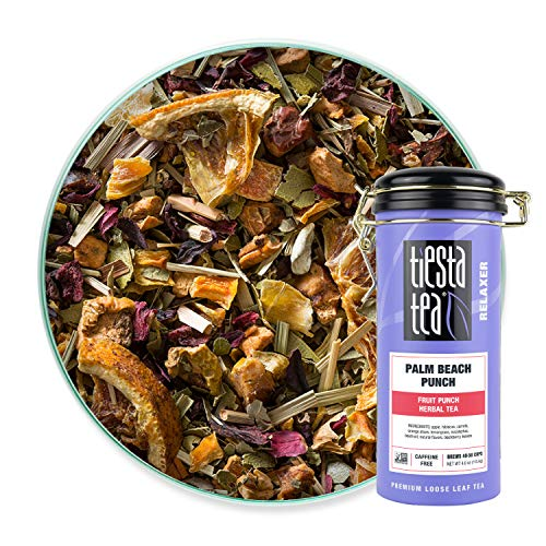 Tiesta Tea - Palm Beach Punch, Loose Leaf Fruit Punch Herbal Tea, Non-Caffeinated, Hot & Iced Tea, 4 oz Tin - 50 Cups, Natural, No Sugar, Herbal Tea Loose Leaf Blend