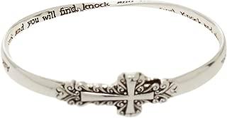 Bracelet - Christian Bible Scripture Silver Tone Twist Bangle - Rickis Matthew 7:7