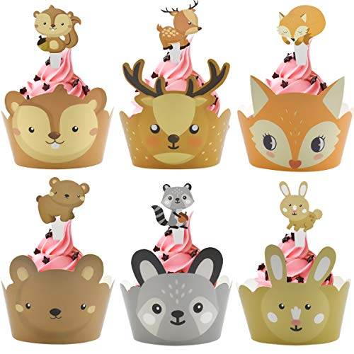 Dokpav 24PCS Wild Animal Cupcake Wrappers, Cupcake Topper de Tarta Magdalenas Decoración, Cupcake Topper Wrappers, Cupcake Wrappers para Niños Infantiles Fiestas de Cumpleaños Decoración de la Torta