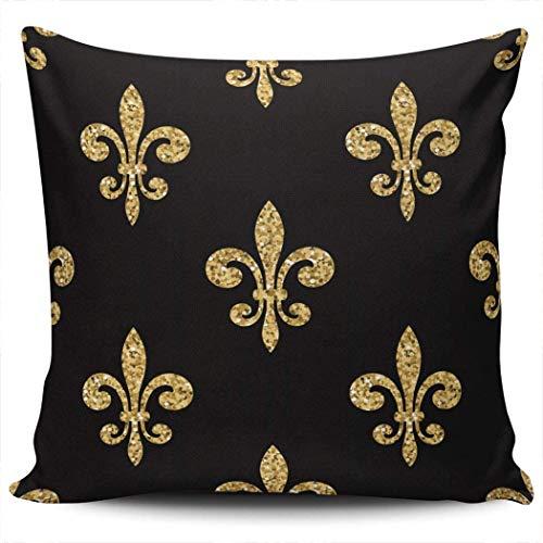 Fundas de almohada para decoración de sofá, dorado, negro, floral, Fleur Lis, Royal Lily, funda de cojín cuadrada vintage, fundas de almohada, 18 x 18 pulgadas, impresión de doble cara (juego de 1)