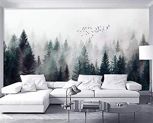 Custom Wallpaper Modern Fresh Fog Forest Clouds Flying Bird Nordic TV Backdrop 3D Living Room Bedroom