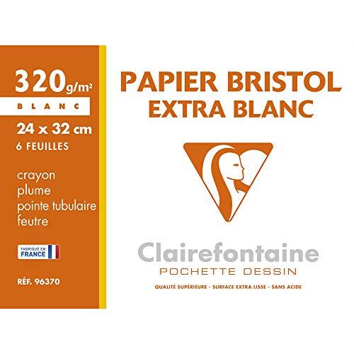 Clairefontaine 96370C Bristolkarton, Mappe, 24 x 32 cm, 320 g, 6 Blatt, weiß