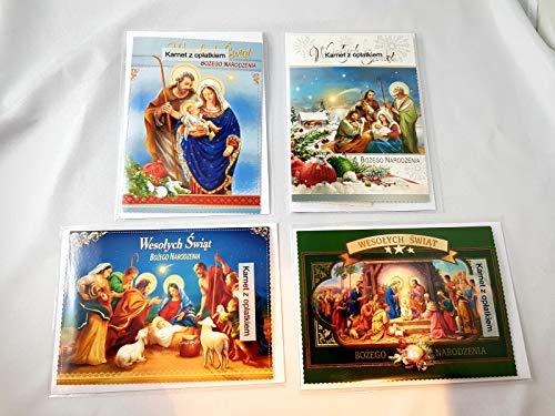 4 Stück Polnische Weihnachtskarte Grußkarte zu Weihnachten mit Oblaten/ 4 kartki świąteczne z Oplatkiem