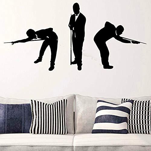 JXNY DREI Billard Spieler Wandaufkleber Silhouetten Männer in Anzügen Spiel Spiel Poster Removable Home Interior Art Decor Aufkleber 117X56 cm