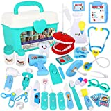 Tomons Toy Doctor Kit for Kids - 38 Pieces Kids Pretend Play Doctor Toys with Stethoscope Dentist Model, Medical Kit Doctor Play Set with Sturdy Gift Case
