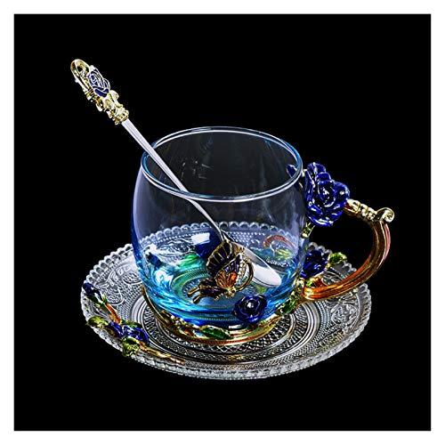 DLRBWAN Copas de Vino Copa de té de la Flor de Cristal de la Taza de té de la Taza de Gama Alta con la manija Boda del Amante (Color : Short with Tray)