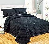 Couvre-lit confortable réversible avec strass - 5 pièces - Pour lit double King size, Polyester, Noir , Super king size