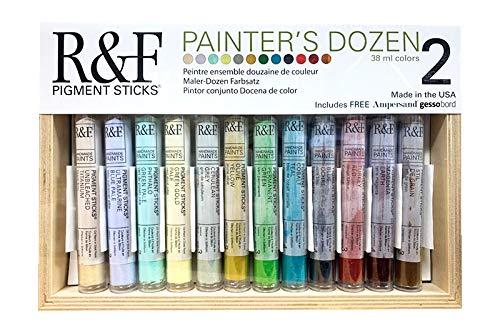 R&F Handmade Paints 2990 Oil Pigment Stick Set of 12 Colors Painters Dozen 2