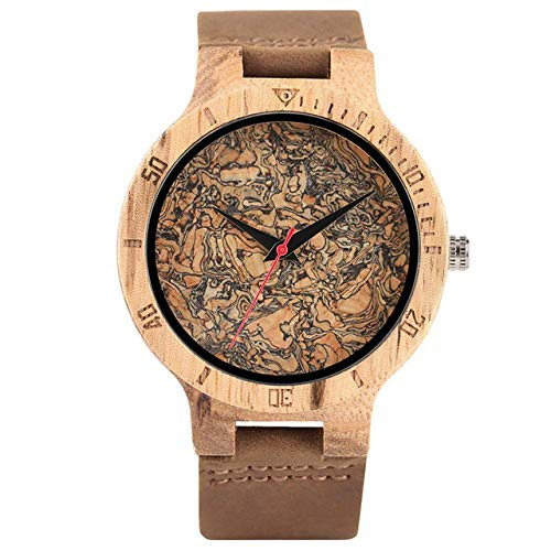 LYMUP Reloj de Madera Reloj de Madera Solicitud de Corcho única para Hombres/Hojas rotas Reloj de dial de Cara Reloj de Cuarzo de Madera Reloj de Cuero Masculinas Relojes de Pulsera,Vapor (Color : 1)