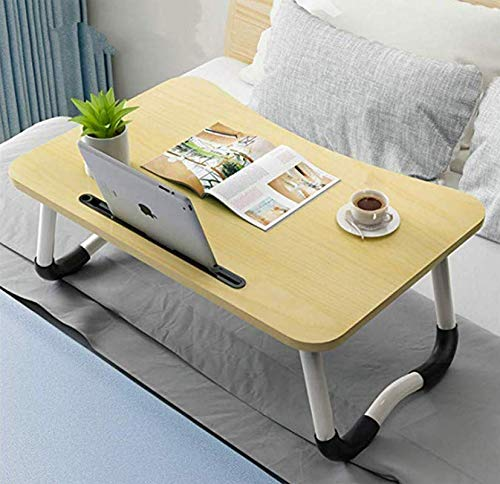 Laptop Bed Tray Table, Foldable Lap Desk Stand, Multifunction Lap Tablet Perfect for Eating Breakfast, Reading Book, Working,Watching Movie on Bed/Couch/Sofa/Floor,Light Brown