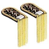 FENICAL Shoulder Epaulette Star Tassel Link Chain Blazer Epaulet Shoulder Boards Badge-1 Pair Gold
