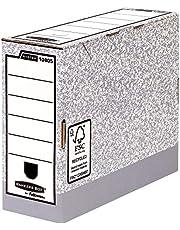 Fellowes Bankers Box 108051, Cajas de Archivos Automáticos, A4, Lomo 100 mm, Gris Jaspeado (10 unidades)