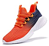 JMFCHI Boys Girls Kids' Sneakers Knitted Mesh Sports Shoes Breathable Lightweight Running Shoes for Kids Fashion Athletic Casual Shoes Orange Size 8
