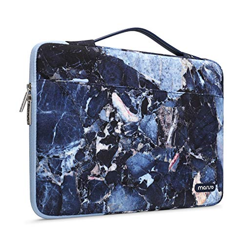 MOSISO Laptop Sleeve 360 Protective Case Bag Compatible with 13-13.3 inch MacBook Pro, MacBook Air, Notebook Computer, Water Repellent Rock Marble Polyester Shockproof Handbag with Trolley Belt, Blue