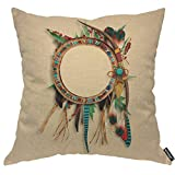 AOYEGO Brown Western Southwest Indian Throw Pillow Cover Feather Arrow Catcher Ethnic Turquoise Native Head Wear Leaves Pillow Case 18x18 Inch Decorative Men Women Boy Girl Room Cushion Cover for Home
