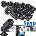 ?5MP? Hiseeu 8 Camera Security System,4Pcs 96Ft+4Pcs 64Ft BNC Cables,8Pcs 5MP AHD Camera,Phone&PC Remote Viewing,Motion Alert,Night Vision,IP66 Waterproof,24/7 Recording,Easy Setup,H.265+,3TB HDD