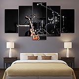 Tela HD Stampato Pictures Home Decor 5 Pezzi Di Musica Della Chitarra A Tamburo Quadri Strumenti Di Banda Modulare A Parete Art Poster Framework Quadro su tela (Size : 20x35 20x45 20x55cm)