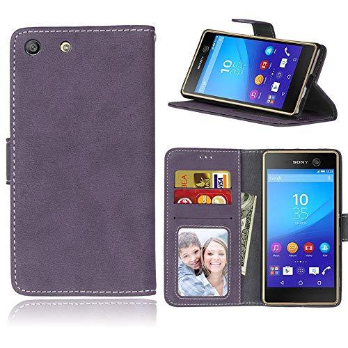 Sangrl Libro Funda para Sony Xperia M5 / E5603 / E5606 / E5653, PU Cuero Cover Flip Soporte Case [Función de Soporte] [Tarjeta Ranuras] Cuero Sintética Wallet Flip Case Púrpura