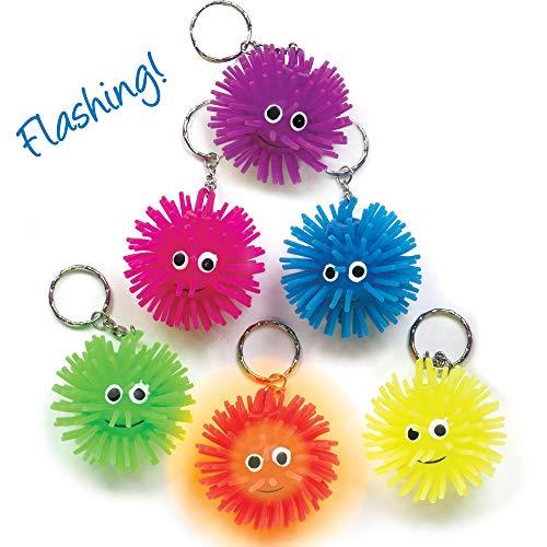 Baker Ross Schlüsselringe mit blinkenden Igelbällen - Spielzeug für Kinder als Mitgebsel und Preis beim Kindergeburtstag - 6 Stück