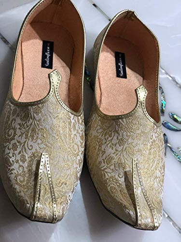 White and Gold Mens Shoes, Vegan Shoes, Khussa shoes for men, Mens juttis