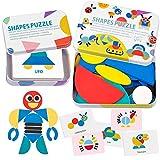TATAFUN Tangram Madera, Rompecabezas de Madera Bloques, 36 PCS Montessori Puzzle de Madera + 60 PCS Diseño Tarjetas de Apilamiento Juegos y Juguetes Educativos Clasificación de la Infancia