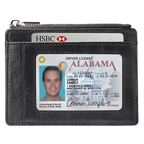 Jisoncase カード入れ 免許証入れ 本革 紙幣クリップ ビジネス ファスナー コインケース 小銭入れ 薄型 大容量 財布 定期 rfid(ブラック JS-BAO-07A10)