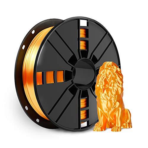Shiny Silk Gold PLA Filament 1.75mm, NOVAMAKER Metallic Metal Golden PLA 3D Printer Filament with Cleaning Filament, 1kg Spool(2.2lbs), Dimensional Accuracy +/- 0.02mm, Fit Most FDM Printer