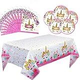 Unicorn Party Supplies Kit de vaisselle de décoration de fête, vaisselle jetable, serviettes de table en papier, assiettes en papier pour les filles princesse filles anniversaire pack de 41