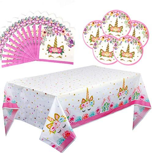Unicorn Party Supplies Set Kit de vajilla de decoración de fiesta Unicornio Vajilla desechable Servilletas de papel Platos de papel para niñas Princesa Fiesta de cumpleaños Favores paquete de 41