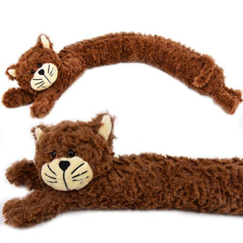 The Magic Toy Shop Zugluftstopper / Zugluftstopper für die Tür, weiches Micro-Fleece, Design Hund / Katze Brown Cat