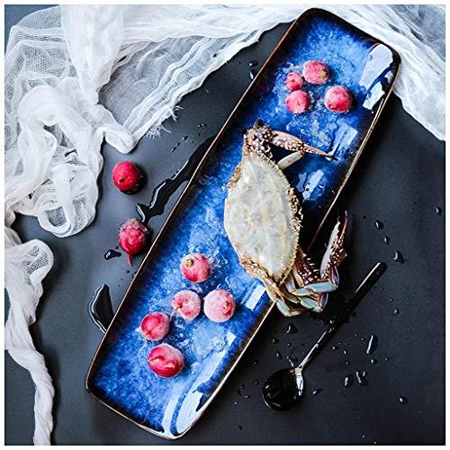 SMC Teller Mode Kreative Persönlichkeit Lange Streifen Übergroße Sushi Platte Sashimi Platte Restaurant Lange Platte Cold Plate Arrangement Spezialeffekte Hummer Gericht Sushi Platte Grill Gericht Bla