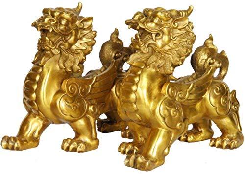Estatua artesanal de latón, un par de estatua de unicornio Pi Xiu, símbolo de decoración del hogar para la oficina, que atrae la...