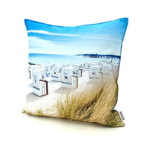 heimtexland ® Outdoorkissen Bedruckt 45x45 Garten Lounge Dekokissen Outdoor Lotus Effekt Typ742 Maritim Strandkorb