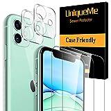 [2 Pack]UniqueMe Protector de Pantalla para iPhone 11 (6.1') y [2 Pack] Protector de lente de cámara para iPhone 11 cámara, [Cobertura máxima][Sin Burbujas] HD Cristal Vidrio Templado