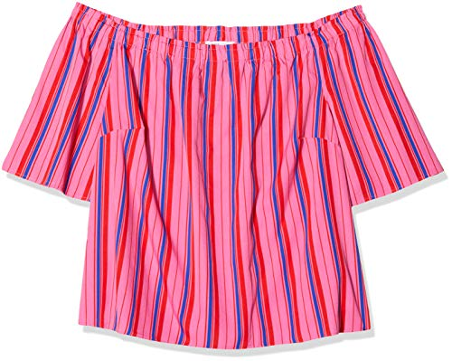 SIMPLY BE Damen Ladies 3/4 Sleeve Bardot Bluse, Mehrfarbig (Pink Stripe 001), 52