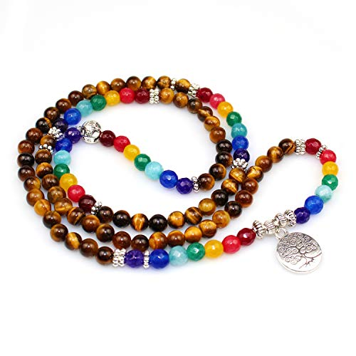 ARZASGO 7 Chakra Healing Crystal Stone Multilayer Wrap Bracelets, Tree of Life Bracelets 108 Mala Prayer Beads for Yoga Meditation Healing Protection