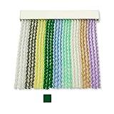 Cortinas Exterior Puerta de Cordon | Tiras Plastico PVC y Barra Aluminio | Ideal para Terraza y Porche | Antimoscas | Verde Oscuro | 210 * 120