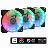 DS 5V Motherboard Connector 120MM Addressable RGB Fans for PC Cases, CPU Coolers, Water Cooling Radiators System (Compatible with ASUS Aura Sync or MSI Mystic Control, 3pcs Rainbow Fans, B Series)