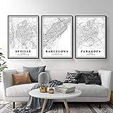 Mapa de la ciudad de España Barcelona Madrid Málaga Sevilla Valencia Zaragoza Carteles Lienzo Cuadros Arte de pared Impresiones Decoración Interior 15.7 x 59.9 cm x 3 Sin marco