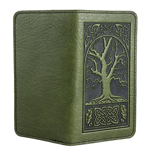 Oberon Design Celtic Oak Embossed Genuine Leather Checkbook Cover, 3.5x6.5 Inches, Fern Color, Made in the USA