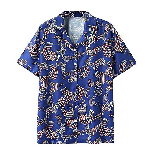 YUTING Camisa de manga corta para hombre, para verano, cuello alto, a rayas, con estampado de rayas, con ventilación morado XXXL